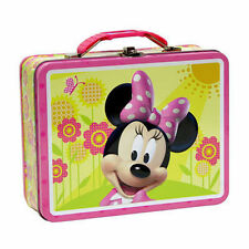 Tin Metal Lunch Snack Toy Box Embossed Disney Minnie Mouse Flower NEW