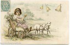 PETITE FILLE. ATTELAGE DE MOUTONS . PAQUES. HAPPY EASTER. HITCH SHEEP. CHILD.EGG