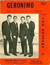 THE SHADOWS - GERONIMO - Original Vintage SHEET MUSIC Australia 1963 RARE