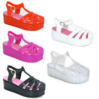 WOMENS LADIES CHUNKY PLATFORM WEDGE JELLY GLADIATOR BEACH SANDALS SHOES SIZE