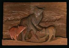 Early Mahogany Relief Carving Bear with Cubs by Bruno Wolfgang Kurtz (1926-1913)