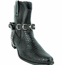 D Ring Boot Strap Genuine Leather with Removable Chain Western Punk Goth Bikers
