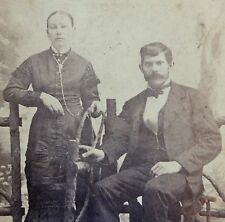 """ANTIQUE LATE 1800'S CABINET PHOTO OF A MAN AND A WOMAN 4.25"""" X 6.5"""""""