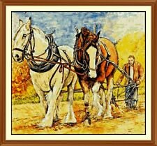 horses ploughing fields Cross Stitch Chart  12.0 x 11.0Inches