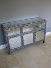 Black Silver Embossed Metal & Mirror Large Sideboard Cabinet