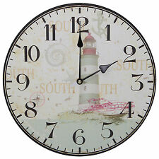 Lighthouse Beach Nautical Artwork Rustic Prints Decorative Wall Clock 13""