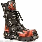 Newrock New Rock 591 S1 Red Flame Goth Boots Metallic Black Leather Boot Biker