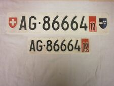 SWITZERLAND AARGAU 1998 WITH COUNTRY & CANTON SHIELDS # AG-86664 LICENSE PLATES