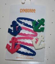 New Gymboree 4 Snap Clips Hair Accessory NWT Stripes and Anchor