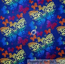 BonEful FABRIC FQ Cotton Quilt Blue Rainbow Butterfly Tattoo Gothic Bright Sexy