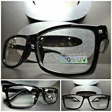 Mens Women CLASSIC VINTAGE RETRO Clear Lens EYE GLASSES Cool Black Fashion Frame