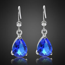 Xmas Lady jewel gift Pear Cut Blue Sapphire White Gold Plated Dangle Earrings