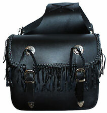 104 Braided with Tassle Motorcycle Leather Biker Saddle Pannier Bag Chopper