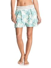 Roxy Surf Queens Marshmallow Washed Palm Shorts Sz Small  ERJNS03081
