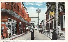 ST. GEORGE STREET ST. AUGUSTINE FLORIDA CIGAR STORE SIGNS POSTCARD (c. 1915)
