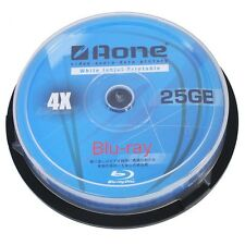 50 AONE BLURAY BLU-RAY FULL FACE PRINTABLE BLANK DISCS 25GB 4x BD-R