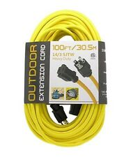 100ft 14/3 Gauge Indoor Outdoor Heavy Duty Power Extension Cord Cable Yellow UL