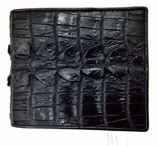 100% Genuine crocodile alligator tail skin leather bifold men black wallet