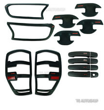SET 4DR BLACK HEAD TAIL LAMP BOWL HANDLE COVER FOR FORD RANGER MK2 FACELIFT 2016