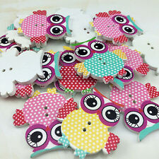 DIY 20pcs Color MIX Owl Pattern Wooden Buttons Fit Sewing and Scrapbook 35MM