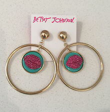 NWT large Betsey Johnson Pink Turquoise crystal lips gold circle hoops earrings