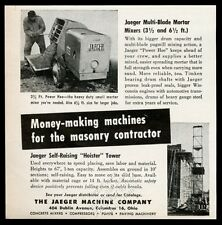 1954 Jaeger Power Hoe cement mortar mixer Hoister tower photo vintage print ad