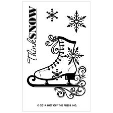 Ice Skate #1161 Hot of the Press Small Stamps clear stamp Christmas Winter
