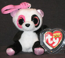 TY BEANIE BOOS - PENNY the PANDA BEAR  KEY CLIP - JUSTICE EXCLUSIVE - MINT TAGS