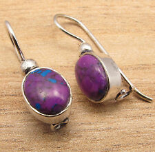 PURPLE COPPER TURQUOISE Stone Earrings !! Sterling Silver Plated Metal Jewelry