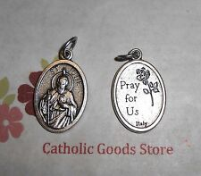 """St Jude - Pray for Us on back -  Italian 1 inch Die Cast Silver Tone 1"""" Medal"""