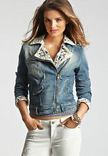 NWT $138 Guess Sveva Jacket Denim & Lace Jean Jacket Blue Distress Wash Size XS