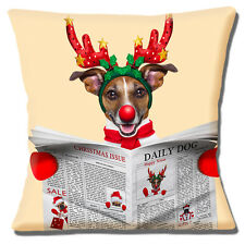 """FUNNY TAN WHITE JACK RUSSELL CHRISTMAS ANTLERS RED NOSE 16"""" Pillow Cushion Cover"""