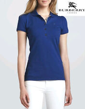 $195.00 Burberry Brit Womens Puff-Sleeve Polo Shirt Bright Opal Blue New Large