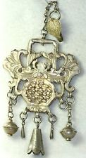 ANTIQUE CHINESE QING DYNASTY STERLING SILVER  AMULET NECKLACE CHATELAINE
