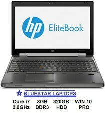 "HP 8570w EliteBook WorkStation 15.6"" 2.9GHZ 8GB 320GB HDD Gamer Laptop WIN10 PRO"