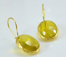 OttomanGems semi precious gemstone earrings gold Sapphire faceted  handmade