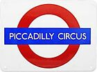 """PICCADILLY CIRCUS"" London Underground roundel enamel sign MEDIUM (gg)"
