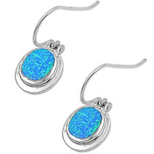 Blue Australian Opal .925 Sterling Silver Earrings 1""