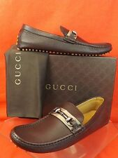 NIB GUCCI BROWN PEBBLED LEATHER WEB SILVER HORSEBIT DRIVING LOAFERS 11 12