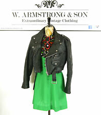 Women's Black GENUINE LEATHER Belted PERFECTO Cropped Biker Moto 70s Jacket UK L