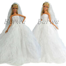 Hot Sell White Wedding Gown Clothes Dress + Veil with Crown for Barbie Doll Gift