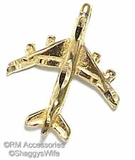 Jet Charm Airplane Air Plane Pendant EP Gold Plated with a Lifetime Guarantee