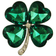 CRYSTAL GREEN FOUR LEAF CLOVER BROOCH PENDANT PIN MADE WITH SWAROVSKI ELEMENTS