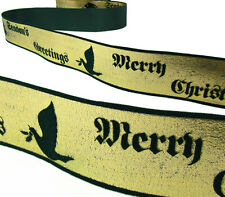 2 Yds Season's Greetings Merry Christmas Angel Dove Met Green Velvet Ribbon 1 3/