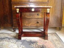 Magnifique console Charles x d'époque 19eme en acajou avec marbre