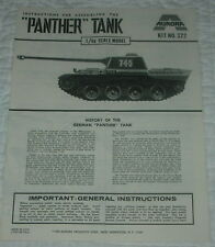 AURORA  PANTHER TANK  MODEL KIT INSTRUCTIONS ONLY  1969  322
