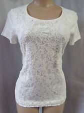 """ANN TAYLOR LOFT"" IVORY FRONT LACE CASUAL CAREER KNIT TOP SIZE: SP NWT"
