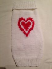 Dog Sweater Sm - White W/ Red Heart