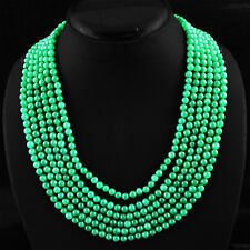AWESOME 644.10 CTS EARTH MINED 6 STRAND RICH GREEN EMERALD ROUND BEADS NECKLACE