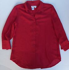 Coldwater Creek Red Long Sleeve Blouse Shirt Top Women's sz Small S